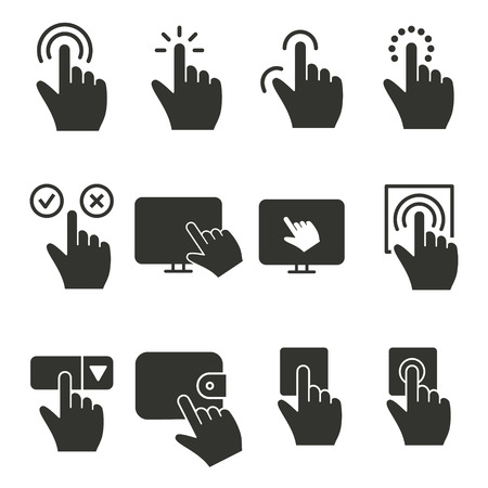 Touch vector icon. Black illustration isolated on white background for graphic and web design. Illustration
