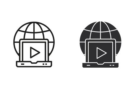E-learning kształcenie na odległość wektor ikona. Czarna ilustracja na białym tle. Prosty piktogram do projektowania graficznego i internetowego. Ilustracje wektorowe