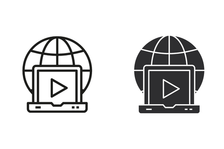 E-learning distance education vector icon. Black illustration isolated on white. Simple pictogram for graphic and web design. Illustration