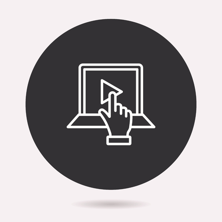 E-learning distance education icon. Vector illustration isolated. Simple pictogram for graphic and web design.