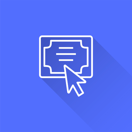 E-learning distance education vector icon with long shadow. Illustration isolated on blue background for graphic and web design. Vectores