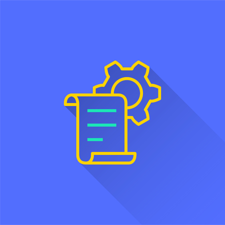 E-learning distance education vector icon with long shadow. Illustration isolated on blue background for graphic and web design. Illustration