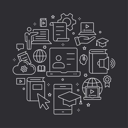 E-learning distance education outline icons set for interface, website, banner, print.