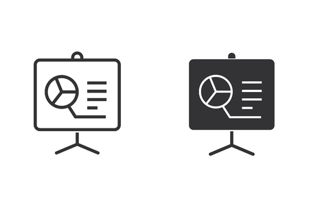 Presentation vector icon. Black illustration isolated on white. Simple pictogram for graphic and web design.