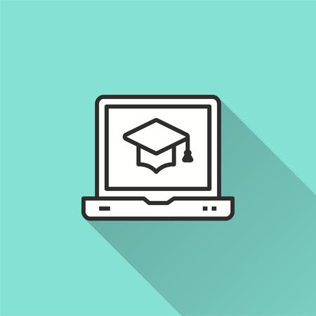 E-learning kształcenie na odległość wektor ikona z długim cieniem. Ilustracja na niebieskim tle do projektowania graficznego i internetowego. Ilustracje wektorowe