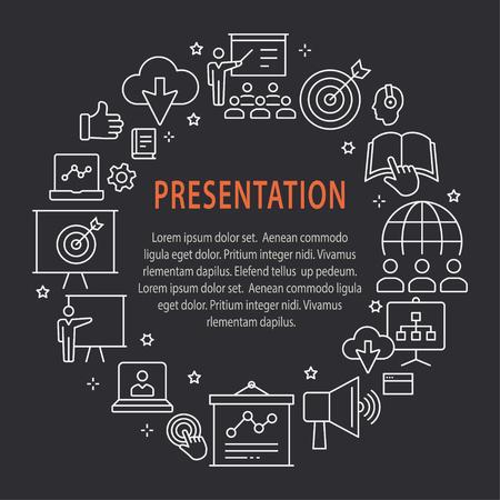 Presentation outline icons set for interface, website, banner, print.