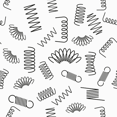Metal spring seamless pattern with icons. Vector background.