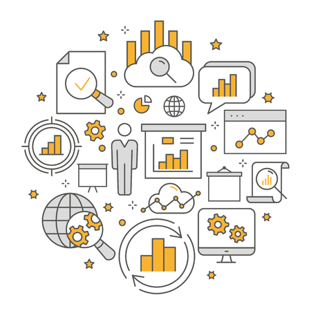 Data analysis circle template flat line icons. Set of business, market, compute, statistic and more.