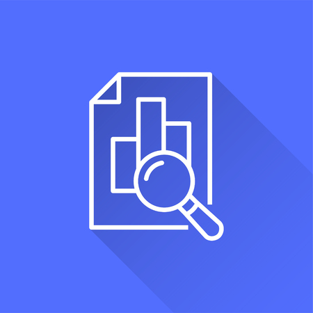 Data analysis vector icon with long shadow. White illustration isolated on blue background for graphic and web design.