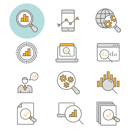 Data analysis flat line icons. Set of research, market, compute, statistic, information and more. Editable Stroke.