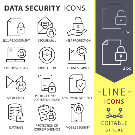 Data security line icons. Set of protection, access, safe, secure, antivirus and more. Vector illustration isolated for graphic and web design. Editable stroke. Archivio Fotografico - 124907165