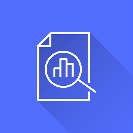Data analysis vector icon with long shadow. White illustration isolated on blue background for graphic and web design. Illustration