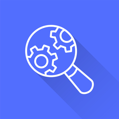 Data analysis vector icon with long shadow. White illustration isolated on blue background for graphic and web design. Archivio Fotografico - 124907170