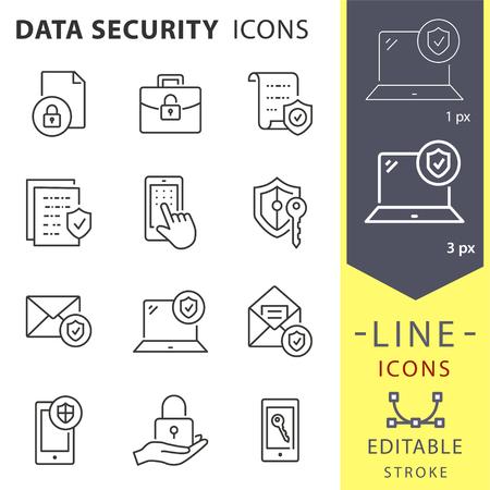 Symbole für die Datensicherheitslinie. Satz von Schutz, Zugriff, Safe, Secure, Antivirus und mehr. Vektorillustration lokalisiert für Grafik- und Webdesign. Bearbeitbarer Strich.