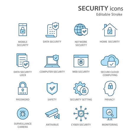 Security flat line icons. Set of privacy, protection, defense and more. Editable Stroke. Change to any size and any colour.