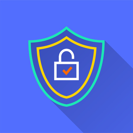Data security vector icon with long shadow. Simple illustration isolated on blue background for graphic and web design. Illustration