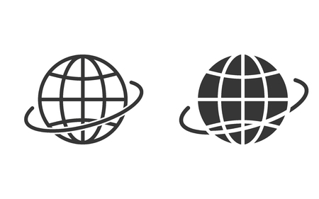 Globe vector icon. Black illustration isolated on white. Simple pictogram for graphic and web design. Çizim
