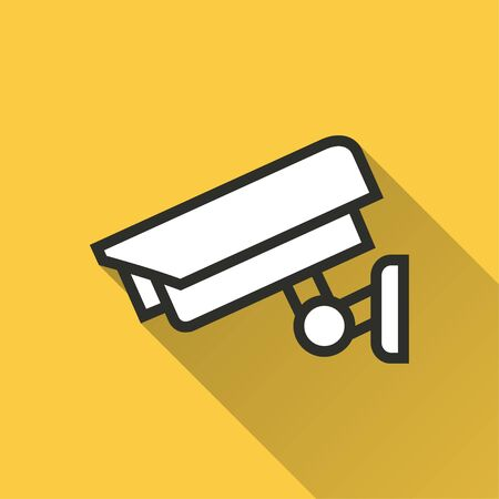 Security camera vector icon with long shadow. Simple illustration isolated on yellow background for graphic and web design.