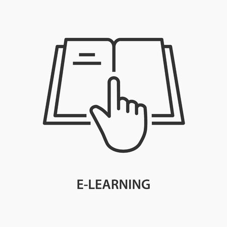 E-learning education line icon on white background. Vector illustration.