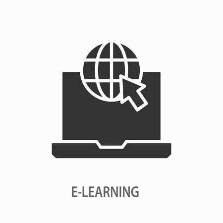 E-learning distance education vector icon. Black illustration isolated on white. Simple pictogram for graphic and web design. Ilustrace