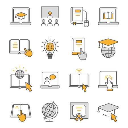 Online education flat line icons. Set of webinar, training, study, university, elearning and more. Editable Stroke.