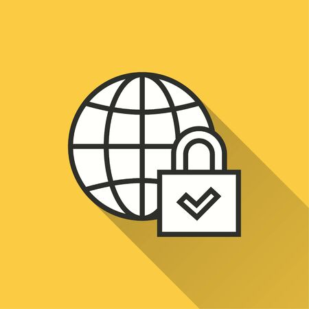 Data security vector icon with long shadow. Simple illustration isolated on yellow background for graphic and web design.