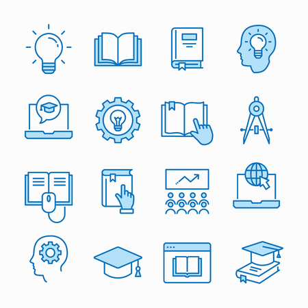 Education line icons. Set of study, school, learning, bulb, lesson and more. Vector illustration isolated for graphic and web design. Editable stroke. Ilustrace