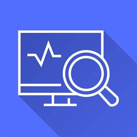 Data security vector icon with long shadow. Simple illustration isolated on blue background for graphic and web design. Ilustrace