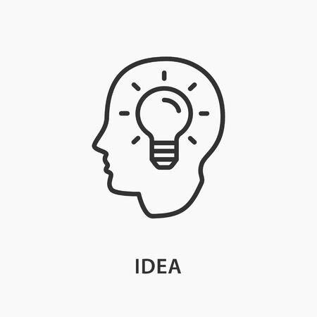 Smart human head line icon on white background. Vector illustration.