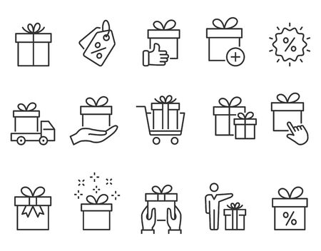 Set of gift box icons, such as present, discount, package, price tag. Vector illustration. Ilustrace