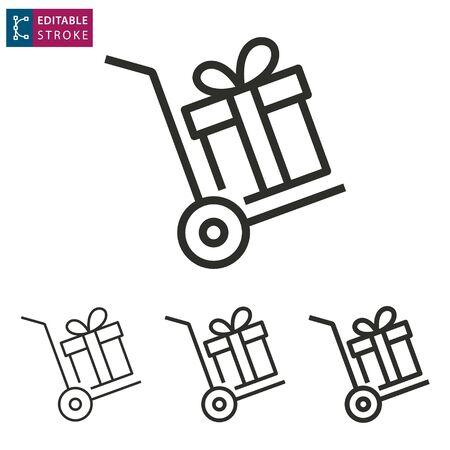 Gift box outline icon on white background. Editable stroke. Vector illustration.