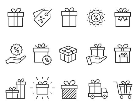 Set of gift box icons, such as present, discount, package, price tag. Vector illustration isolated for graphic and web design. Editable stroke.