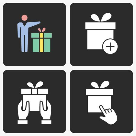 Gift box vector icon set. Solid illustration isolated on black background for graphic and web design.