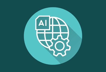 Artificial intelligence vector icon with long shadow. Simple illustration isolated for graphic and web design.