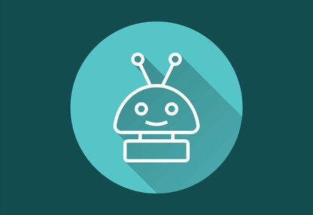 Robot vector icon with long shadow. Simple illustration isolated for graphic and web design. Иллюстрация