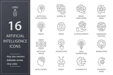Artificial intelligence line icons. Set of brain, robot, ai, head, technology and more. Editable stroke. Ilustrace
