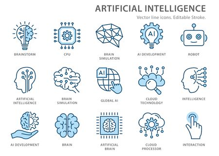 Artificial intelligence line icons. Set of brain, robot, ai, head, technology and more. Editable stroke. Иллюстрация