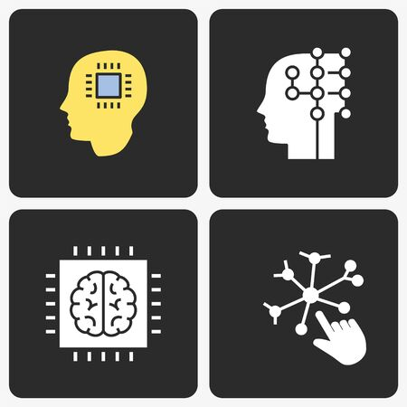 Artificial intelligence icons set. Vector illustration for web sites and mobile application.