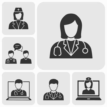Doctor icons set. Vector illustration for web sites and mobile application. Reklamní fotografie - 130726275