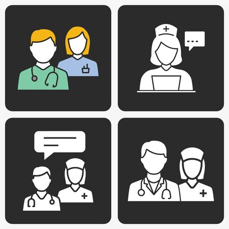 Doctor vector icon set. Illustration isolated on black background for graphic and web design. Illustration