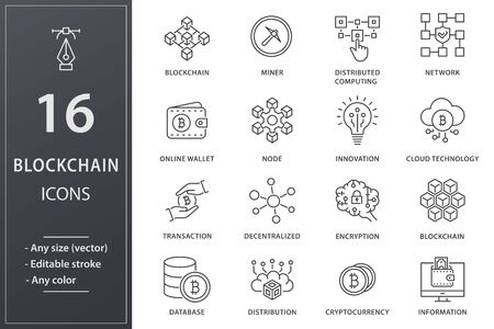 Blockchain line icons. Set of mining, bitcoin, currency and more. Editable stroke.