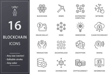 Blockchain technology line icons. Set of mining, bitcoin, currency and more. Editable stroke. 일러스트