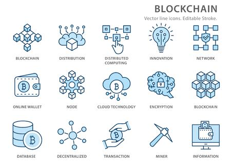 Set of blockchain technology icons, such as cryptocurrency, mining, bitcoin. Editable Stroke.