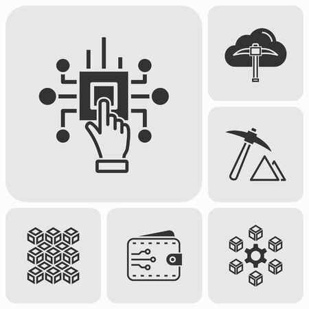 Blockchain Cryptocurrency Icons..