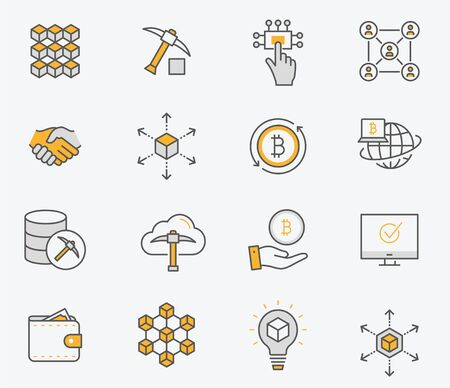 Set of blockchain icons, such as mining, bitcoin, currency and more. Vector illustration isolated on white. Editable stroke.
