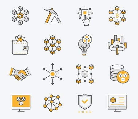 Set of blockchain technology icons, such as mining, bitcoin, currency and more. Vector illustration isolated on white. Editable stroke. Illustration