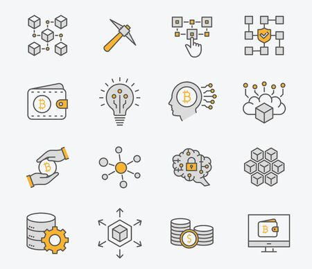 Set of cryptocurrency icons, such as mining, bitcoin, currency, blockchain and more. Vector illustration isolated on white. Editable stroke.