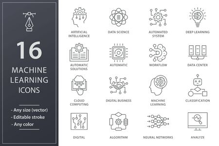 Machine learning icons. Set of artificial intelligence, digital business, automated system and more. Editable stroke. Vetores