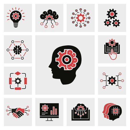 Machine learning icons, such as artificial intelligence, algorithm, automated system, robot