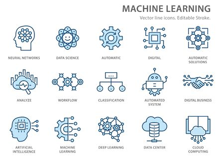 Machine learning line icons icons, such as artificial intelligence, digital business, automated system and more. Editable stroke. 向量圖像